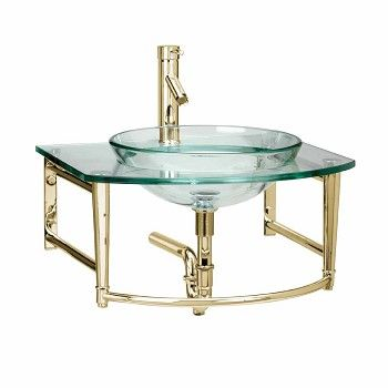 glass sink wall mount console bathroom vanity gold pvd shop