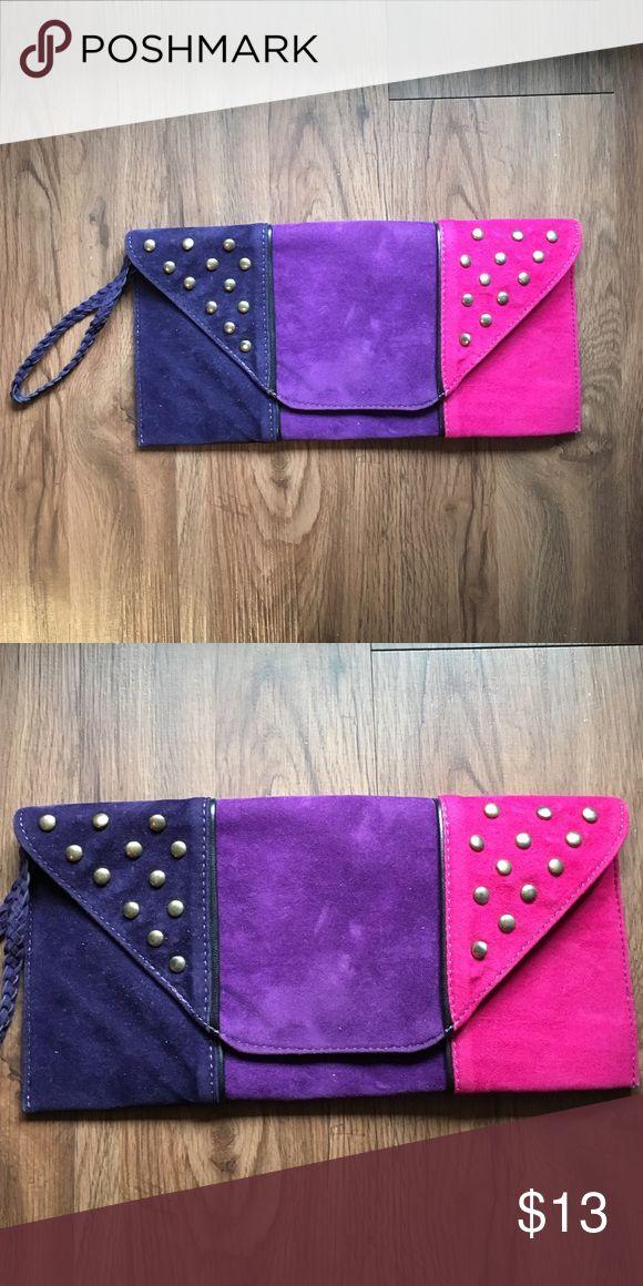 HOT PINK / PURPLE CLUTCH BAG Ombré faux suede purple clutch. Excellent condition. Bags