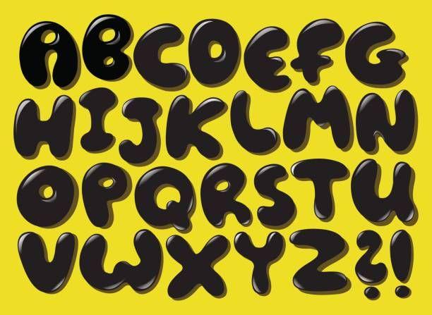 Black bubble alphabet