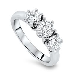 1.01cts 3 Stone Certified Diamond Ring