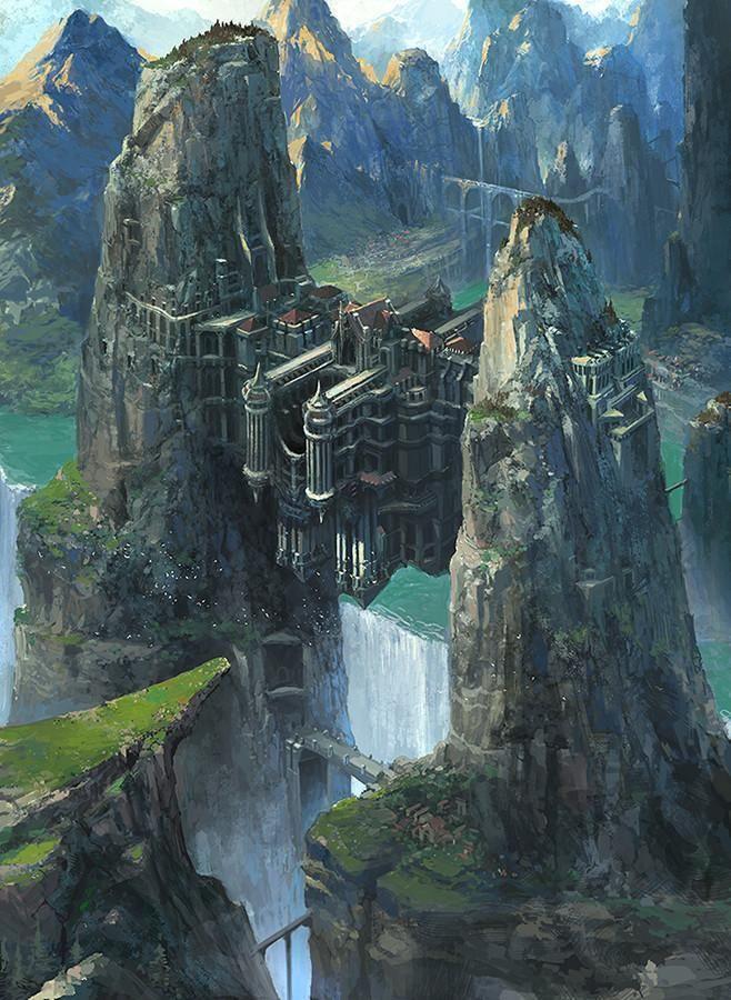 Красивые картинки Арт Фэнтези замок водопад Dongick Lee ...