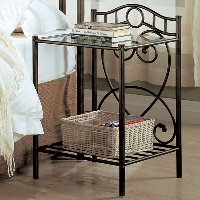 Beckley Transitional Iron Nightstand with Shelf