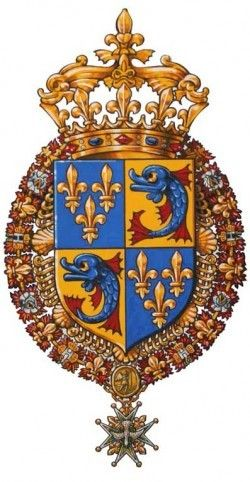 Detail of the official arms for the Christening of  Mgr. le Prince Louis de Bourbon, duc de Borgogne, Christened in St. Peter's Vatican on September 6, 2010