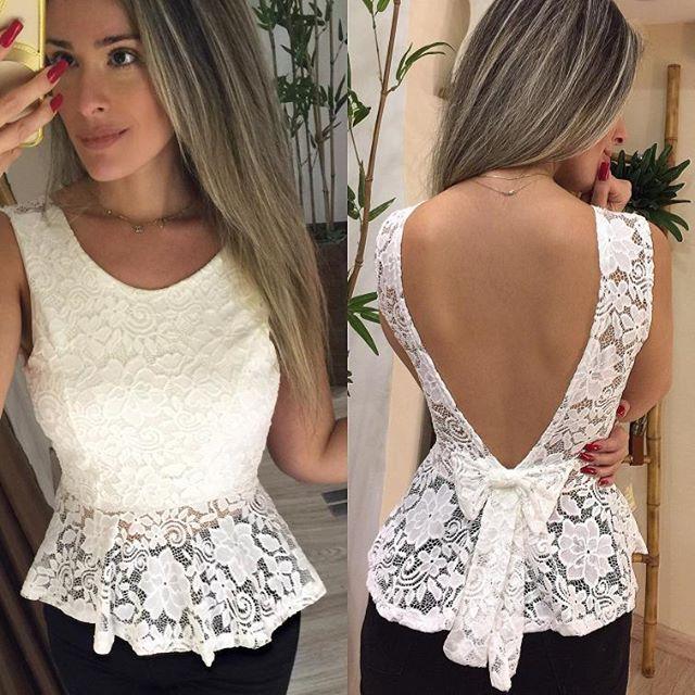 Chic e Elegante..Blusa Renda Bruna R$129,99 em 4x sem juros Com bojo | tamanho único ( veste 36/38/40) compras www.vicshop.com.br