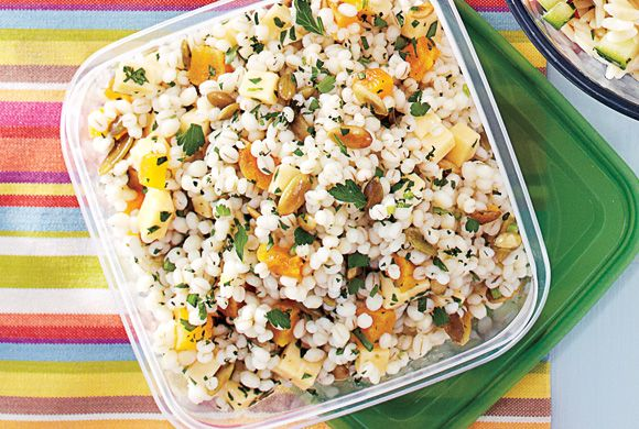 This delicious, sweet and savoury salad may appear to have a lot of dressing, but the barley and apricots will absorb most of it while it stands, adding lots of flavour. Brighten it up by stirring in 1/4 cup chopped fresh parsley just before serving.