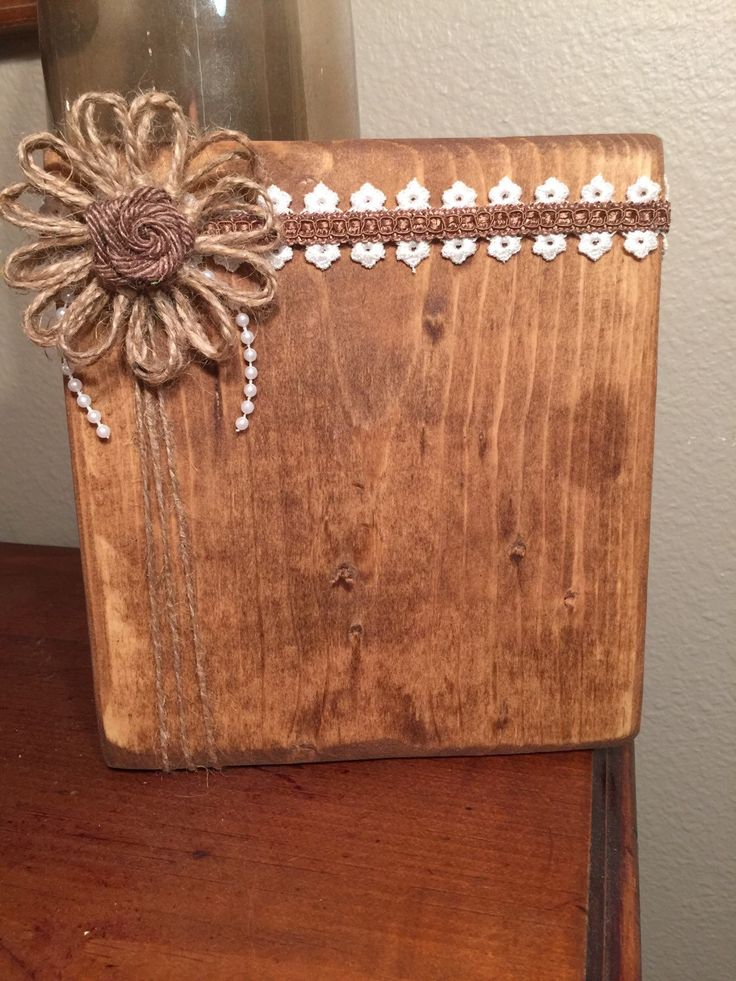 Stained wood frames, Rustic picture frames, Wood block picture frames, Rustic country home decor ideas, Burlap frames, Burlap lace picture frame https://www.etsy.com/listing/276543632/stained-wood-block-photo-frame-4x6