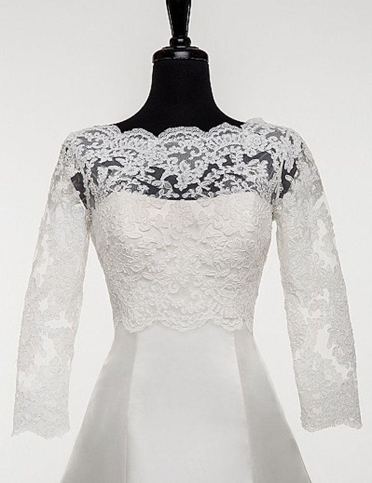 Full Sleeves Scalloped Boat Neck Lace Applique Bridal Jacket/Wraps Wedding Bolero for Women Free Shipping