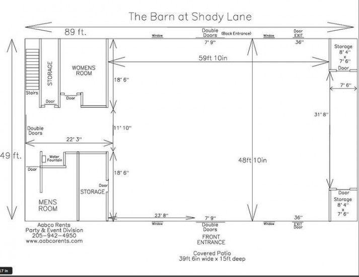 The Barn At Shady Lane Wedding Barn Venue Birmingham Alabama Floor Plan Ideas October 24 Barnwedding Venuefloorplan Barn Layout Barn Plans Barn Wedding Venue