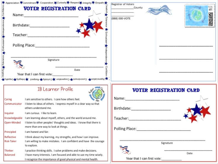 Voter Registration Cards for students can be used for your own mock election! Address a postcard to your students and have them delivered to your room so they can vote in a mock election! http://www.teacherspayteachers.com/Product/Voter-Registration-Cards-for-Students