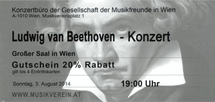 Liebe Gäste, liebe Ludwig van Beethoven - Freunde! Wir haben in unseren Restaurants Gutscheine um -20% Rabatt für ein Ludwig van Beethoven Konzert am Sonntag 3. August 2014 um 19.00 Uhr im großen Saal aufliegen. Einfach mailen oder anrufen um die Karten zu sichern.
