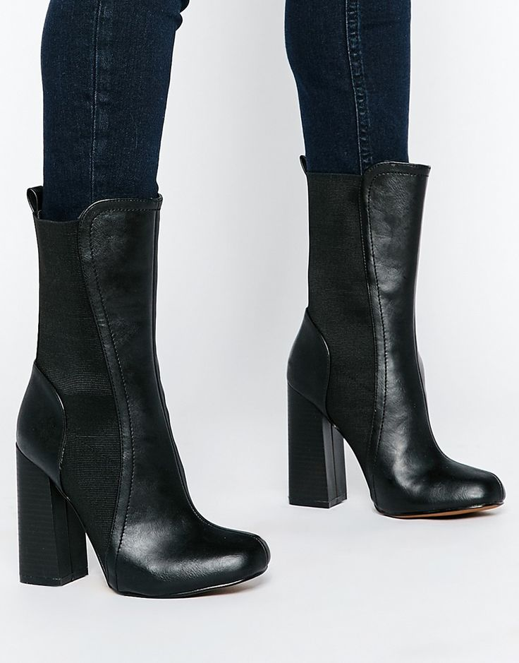 Truffle Collection Nia Heeled Mid Calf Boots