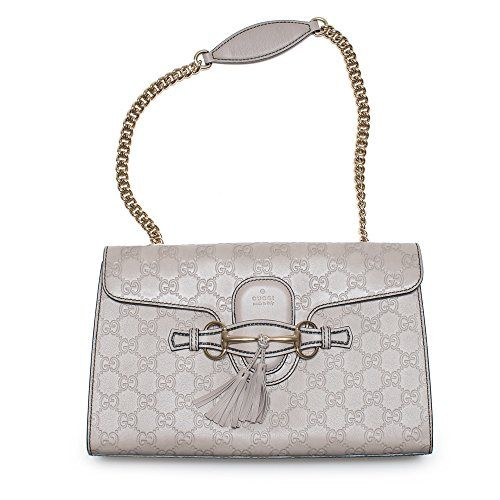 849523df9dd Gucci Emily Guccissima Leather Chain Shoulder Bag Storm Gray Leather New  https   sakosj