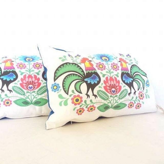 Zestaw poduszek folk – białe 30×50 « Bajkowe Wnętrza
