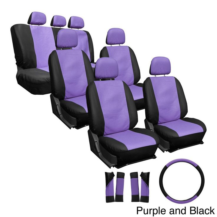 Oxgord Synthetic Faux Leather 23-piece Truck and Van Seat Covers (Purple and Black)