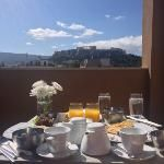 Breakfast and a view of the Acropolis from our balcony at the oandb athens boutique hotel
