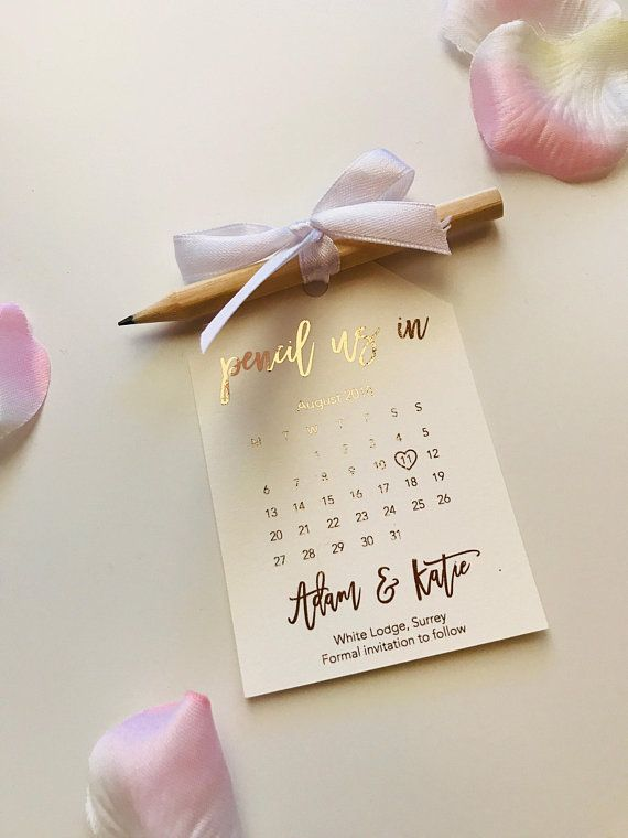 Silver Gold and Light Pink Foil Foil Wedding Save the Date Rose Gold