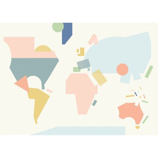 World Map Poster, contemporary, colour, paper cut, design, pastel