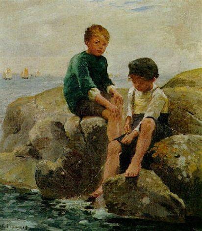 Harold Harvey, Παιδιά που ψαρεύουν. 1914. Ιδιωτική Συλλογή,