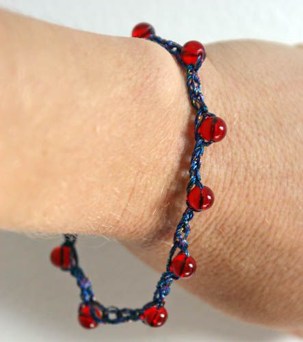 Red and Blue Metallic Beaded Crochet Bracelet - Photo © Amy Solovay