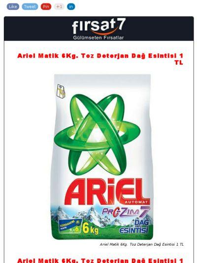 Ariel Matik 6Kg. Toz Deterjan   1 TL