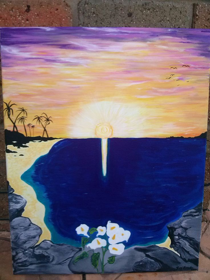 My latest painting for a dear friend of mine who wanted lilies and sunrise over the water.  The 7 flowers, palms and birds represent her family.