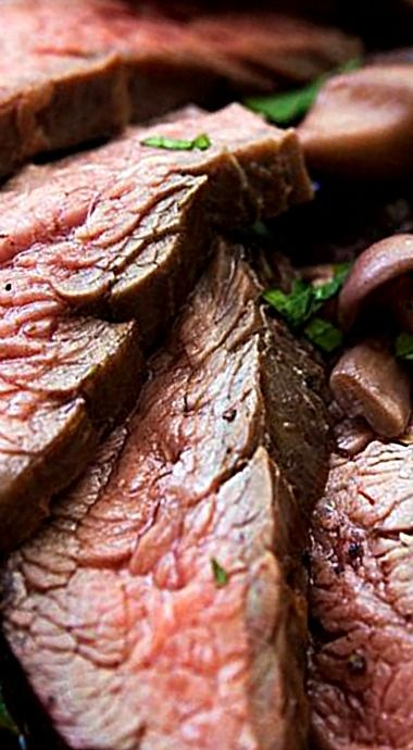 Grilled Flank Steak - Sauced with mushrooms, sautéed in butter and ...