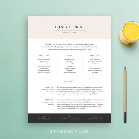 Resume Template and Cover Letter Template by StandoutLab on Etsy