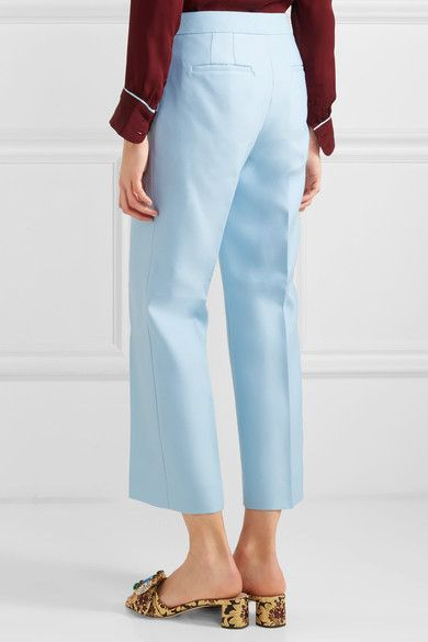 J.Crew - Gretch Cropped Wool And Silk-blend Twill Straight-leg Pants - Sky blue - US12
