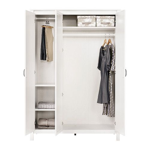 Brusali wardrobe with 3 doors ikea you save space with a for Need a mirror