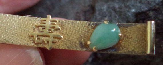 14k Gold Jade Tie Clasp Pin Bar LONGEVITY by MushkaVintage3