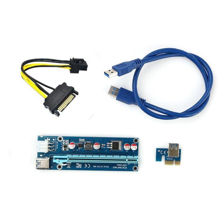 PCI-E PCI E Express 1X to 16X Riser Card +USB 3.0 Extender Cable SATA 15 Pin-6Pin Power Cable 60CM for bitcoin mining