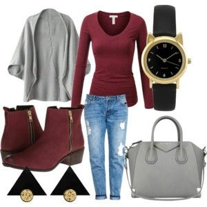 Fall sets Burgundy and gray givenchy bag watch earrings boyfriend jeans
