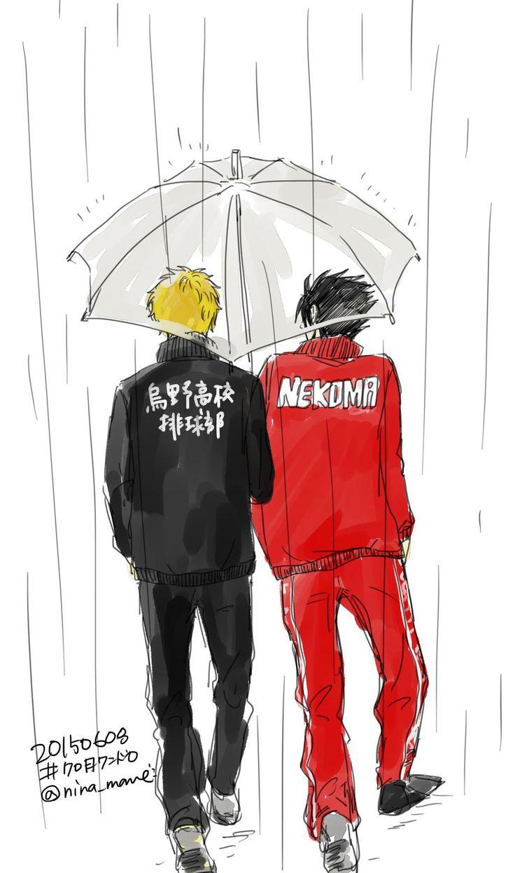 HQ!! KuroTsuki - 日付も変わってしまったんですが... 合宿中、じゃんけんで負けて雨の中買出しに行くクロ月~ 黒尾くんだけが「デートみたい!」ってはしゃいでる感じです... 不憫 #クロ月版深夜の真剣お絵描き60分一本勝負