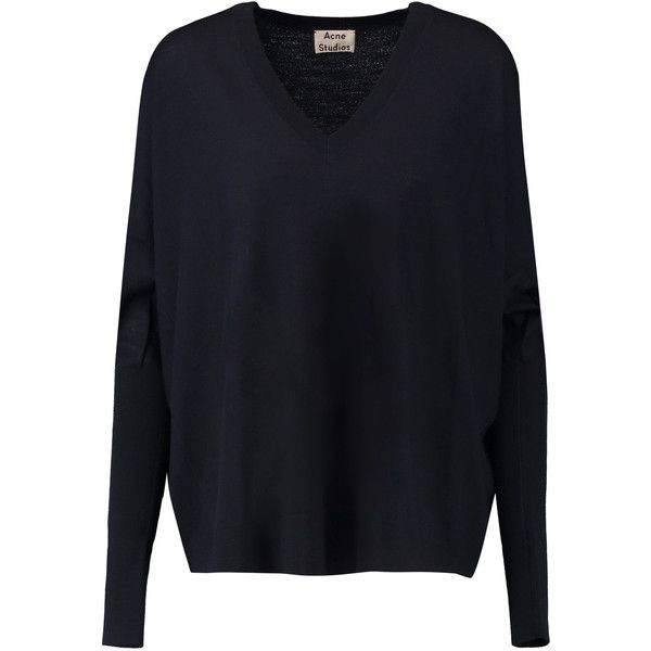 Acne Studios Calla merino wool sweater (€125) ❤ liked on Polyvore featuring tops, sweaters, navy, navy top, navy blue top, merino sweater, acne studios sweater and acne studios