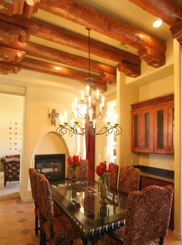 Home Design And Decor , Warm Southwestern Style Homes : Southwestern Style  Homes With Beam Ceiling And Chandelier And Fireplace