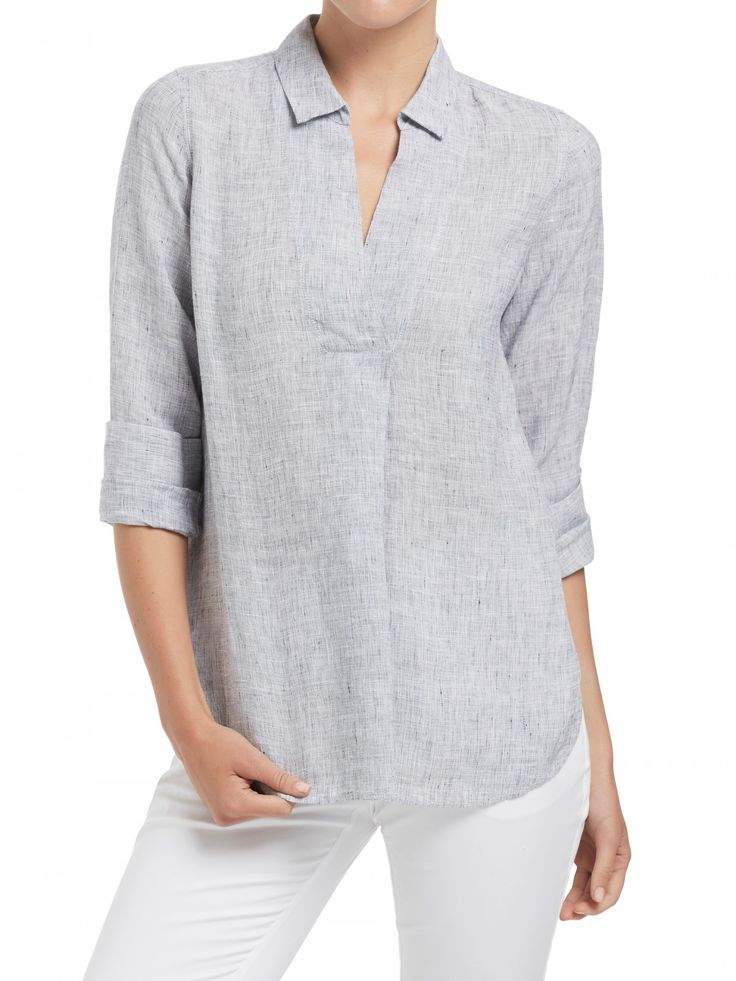 Cross Dye Half Placket Linen Shirt