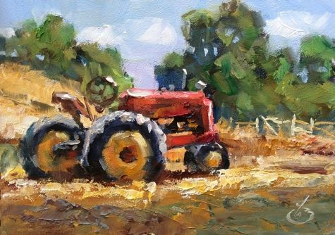 $1 AUCTION, FARM TRACTOR, 5x7 OIL ON MASONITE by TOM BROWN, painting by artist Tom Brown