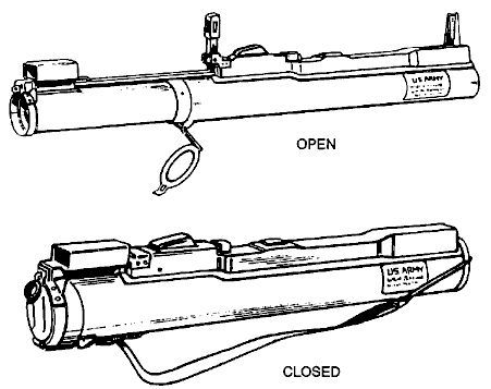 M72 LAW launcher in ready to fire (top) and storage / transport (bottom) configurations.