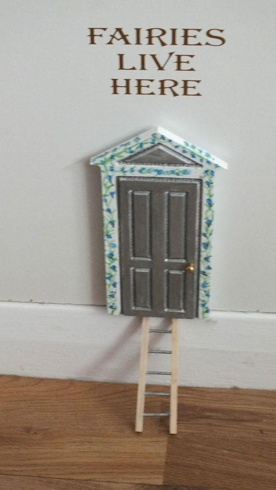 Hand painted skirting board fairy door silver with ladder for Painted fairy doors