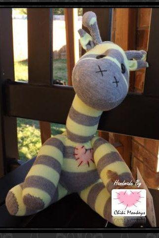 Handmade sock giraffe: Danny~ The original 100% hand stitched plush animal made by Chiki Monkeys! by ChikiMonkeys on Etsy