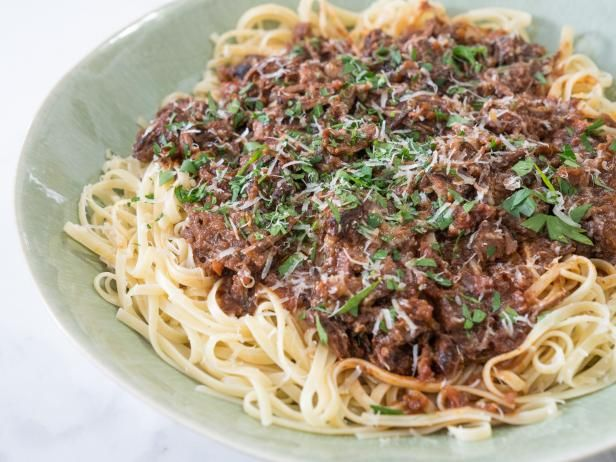 Get Linguine with Braised Red Wine Short Rib Sauce Recipe from Food Network