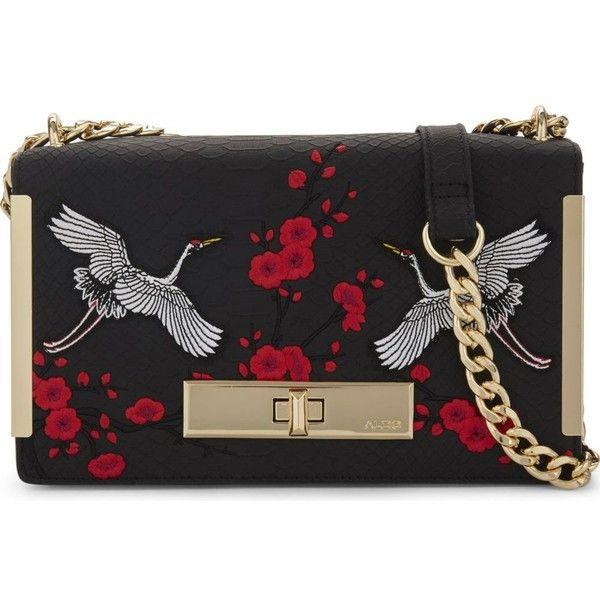 Aldo Bergantino embroidered shoulder bag ($54) ❤ liked on Polyvore featuring bags, handbags, shoulder bags, vegan leather handbags, flap handbags, faux leather purses, faux-leather handbags and aldo purses
