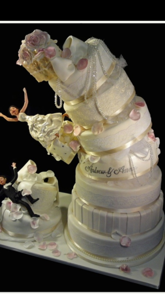 Sometimes you just gotta get crazy.  Crazy wedding cake Visit http://www.brides-book.com for more great wedding resources