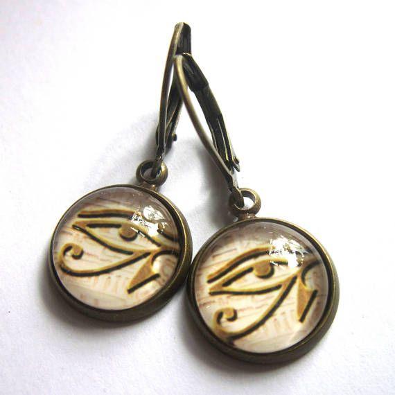 Eye Of Horus Earrings Egyptian Symbol All Seeing Eye Ra Glass