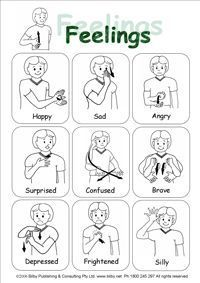 sign language emotions | quick reference sheet for emotions or feelings. Particularly ...