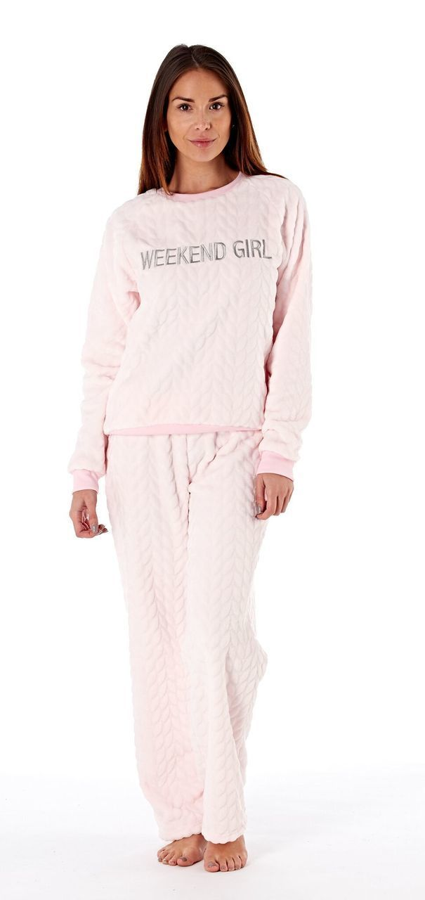 1a2fc140d Ladies Weekend Girl Motif Textured Fleece Lounge Pyjamas  Pink ...