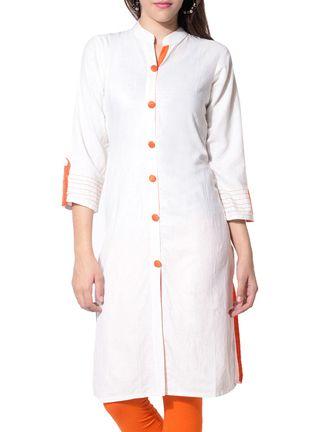 Buy Desi Urban white cotton regular kurta Online, , LimeRoad