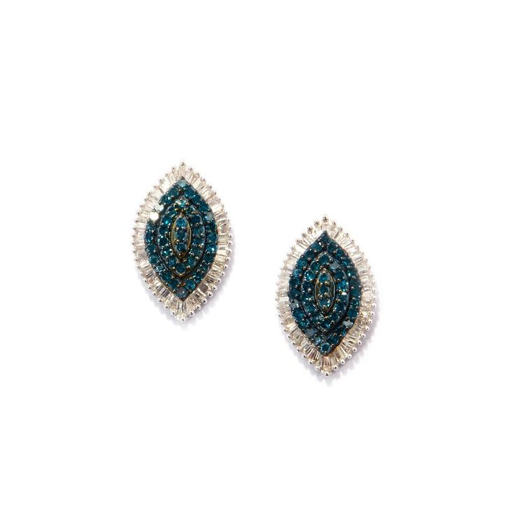 White Diamond Earrings with Blue Diamond in 9k White Gold 1.50cts