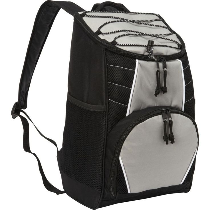Bellino Backpack Lunch Box Cooler. Dimension: 10x 15x 6inch. Padded with peva lining and a detachable, clear pvc liner heat-sealed, making the cooler leak-proof. It holds up to 18 cans in the front, there's a zip pocket with open pockets for sunscreen or phones. Dual mesh pockets on the sides allow for additional bottles or cans.