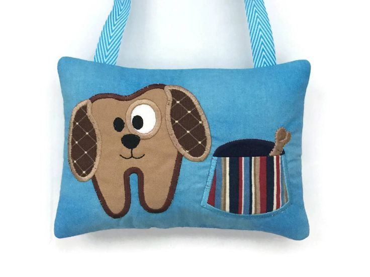Tooth Fairy Pillow Dog - Loose Tooth - Boy Tooth Pillow - Child's Tooth Pillow - Tooth Fairy Door Hanger by NancysLittleBoutique on Etsy